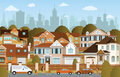 Life in the suburbs vector illustration of autumn Stock Photo