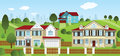 Life in the suburbs vector illustration of small village landscape city background Stock Photo