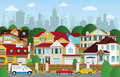 Life in the suburbs vector illustration of summer Royalty Free Stock Image