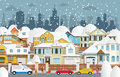 Life in the suburbs winter vector illustration of snow covered houses Royalty Free Stock Photos