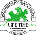 Life time warranty for every piece vector rubber stamp with a of green jigsaw puzzle Stock Image