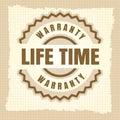 Life time warranty vintage label design Royalty Free Stock Photo