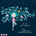 Life tree meditation and girl vector