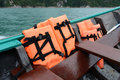 Life vest orange in the long tail boat Stock Photography
