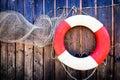 Lifebelt at a fishing hut near vienna Stock Image