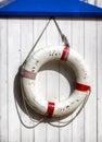 Lifebelt at a fishing trawler life belt Stock Photo