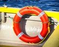 Lifebelt at a fishing trawler life belt Royalty Free Stock Photos