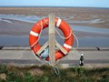Lifebelt at leasowe on the promenade wirral Royalty Free Stock Image