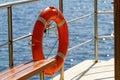 Lifebelt photo of orange on the ship Stock Photography