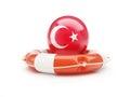 Lifebelt with Turkey flag help on a white background