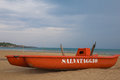Lifeboat on the beach Royalty Free Stock Photo