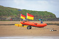Lifeboat on beach Royalty Free Stock Photo