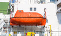 Lifeboat on a cargo ship Royalty Free Stock Photo