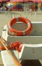 The lifeboat with life belt (buoy ring) Royalty Free Stock Photo