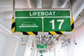 Lifeboat sign hanged on a wall Stock Photo