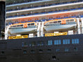 Lifeboats enclosed on cruise ship Royalty Free Stock Photo