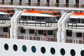 Lifeboats installed on passenger liner board Stock Photography