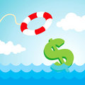 Lifebuoy and a dollar sign Stock Images