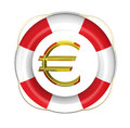 Lifebuoy with euro sign dollar d render isolated on white Stock Photography