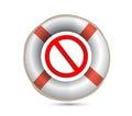 Lifebuoy and forbid symbol.Isolated on white. Royalty Free Stock Photo