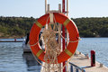 Lifebuoy hanging on the pier Royalty Free Stock Photos