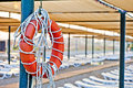 Lifebuoy hanging on a pole Stock Images