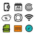 Lifebuoy icon. Compass symbol. HTML document and Barcode icons. Smartphone settings sign. RSS Feed icon.