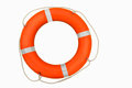 Lifebuoy isolated on white orange Royalty Free Stock Photos