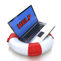 Lifebuoy with laptop help life buoy in the design of the information related to the internet and support Royalty Free Stock Photo