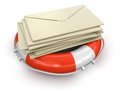 Lifebuoy and letter clipping path included image with Stock Photo
