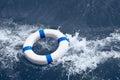 Lifebuoy lifebelt lifesaver in sea storm as help in danger ocean Royalty Free Stock Image