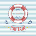 Lifebuoy nautical and marine sailing themed label vector.