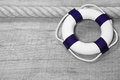 Lifebuoy nautical wooden background with Stock Photos