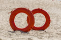 Lifebuoy red in beach in jijel algeria Royalty Free Stock Photos