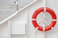 Lifebuoy the red on white background of boat Stock Image