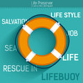 Lifebuoy for rescue salvation life.  Vector icon illustration background. Colorful template for you design, web and Royalty Free Stock Photo