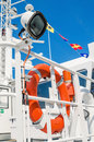 Lifebuoy ring onboard the ship a close up Royalty Free Stock Photos