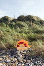 Lifebuoy on the rocks Royalty Free Stock Photography