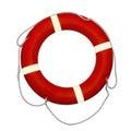 Lifebuoy rojo en un fondo blanco Fotografía de archivo libre de regalías