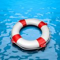 Lifebuoy in the Sea Royalty Free Stock Photo