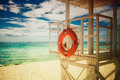 Lifebuoy on the tropical beach Stock Photo