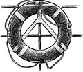 Lifebuoy vector drawing of a life belt from a sailing ship Royalty Free Stock Photos