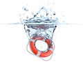 Lifebuoy in water splash Royalty Free Stock Photo