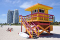 Lifegard cabin at Miami Beach Royalty Free Stock Photo
