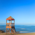 Lifeguard or baywatch wooden beach tower, cabin or hut Royalty Free Stock Image