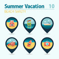Lifeguard beach safety pin map icon set. Vacation
