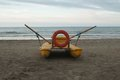 Lifeguard boat on the beach italian in riccione Royalty Free Stock Image