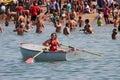 Lifeguard in a boat on Lake Michigan Royalty Free Stock Photo