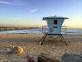 Lifeguard booth at ventura beach ca towering above sand near historic wooden pier san buenaventura southern california Stock Photos