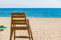 Lifeguard chair close up of the in front of the sea Royalty Free Stock Photos